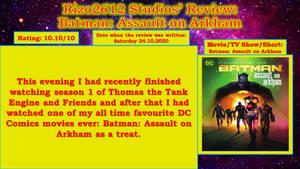 Rizo2612 Studios' Review:Batman: Assault on Arkham