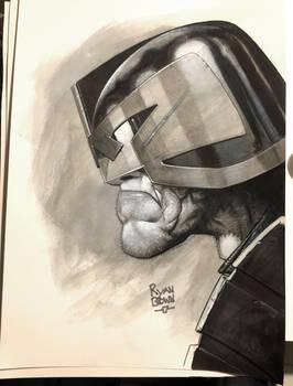 Dredd pencil and ink Sketch