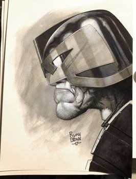 Dredd pencil and ink Sketch