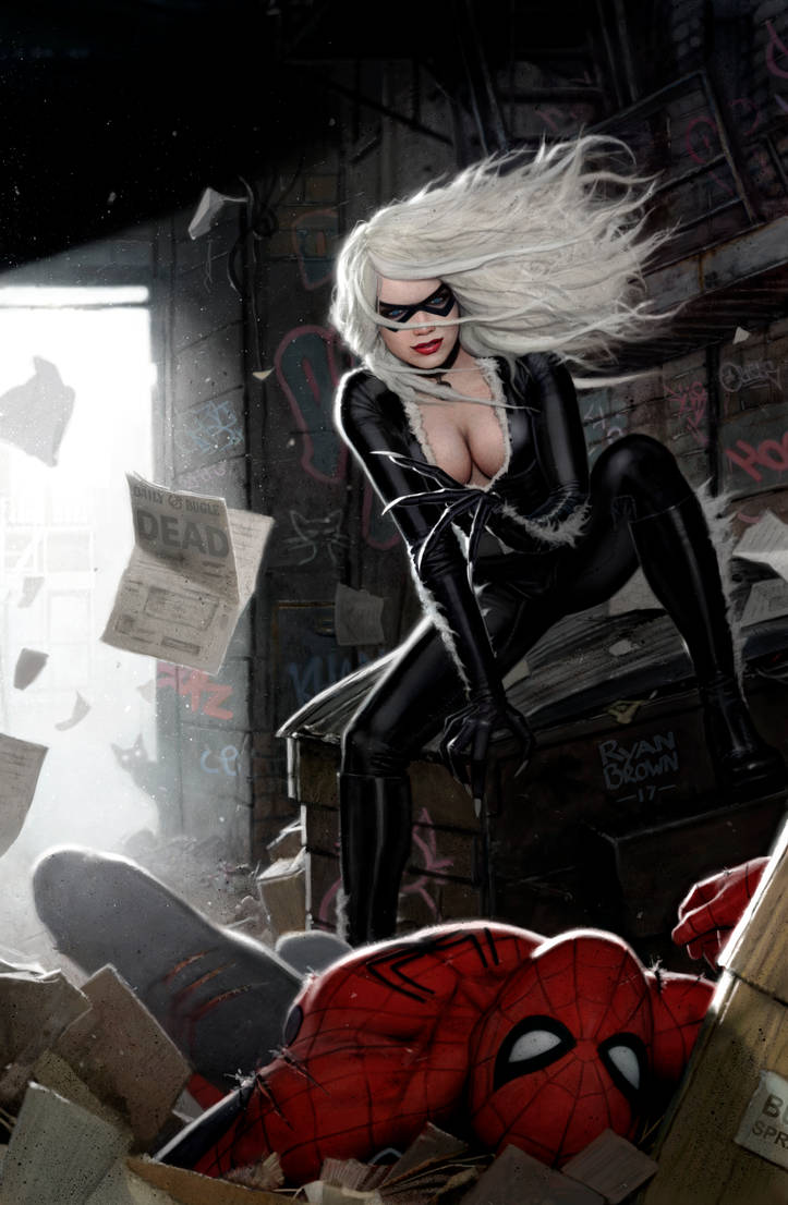 spiderman v black cat painting by ryanbrown-colour