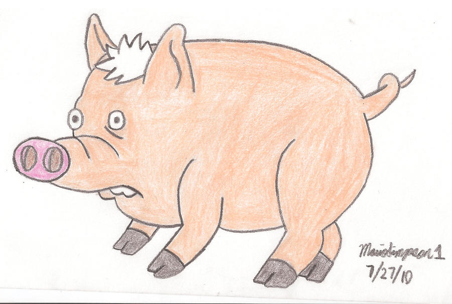 Spider Pig Drawing by MarioSimpson1