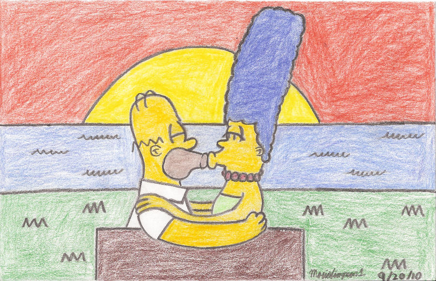 Homer and Marge's Sunset by MarioSimpson1