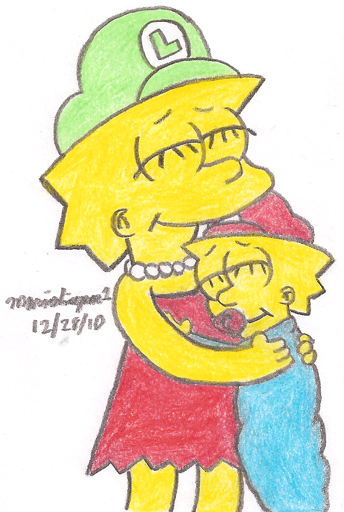 Lisa and Maggie Hugging by MarioSimpson1