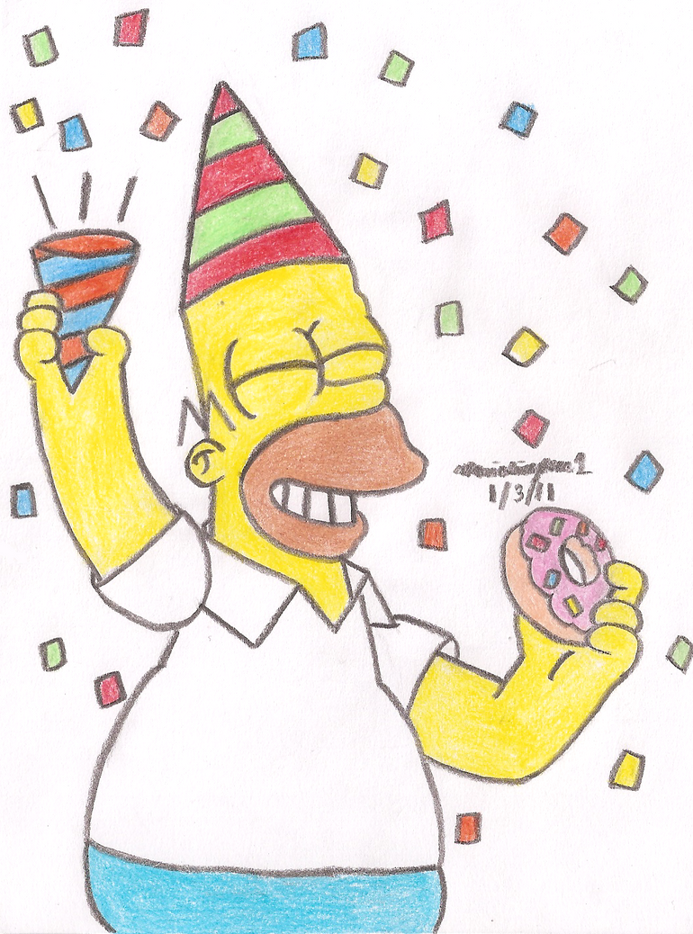 Homer Partying by MarioSimpson1
