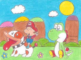 Baby Mario and Poochy by MarioSimpson1