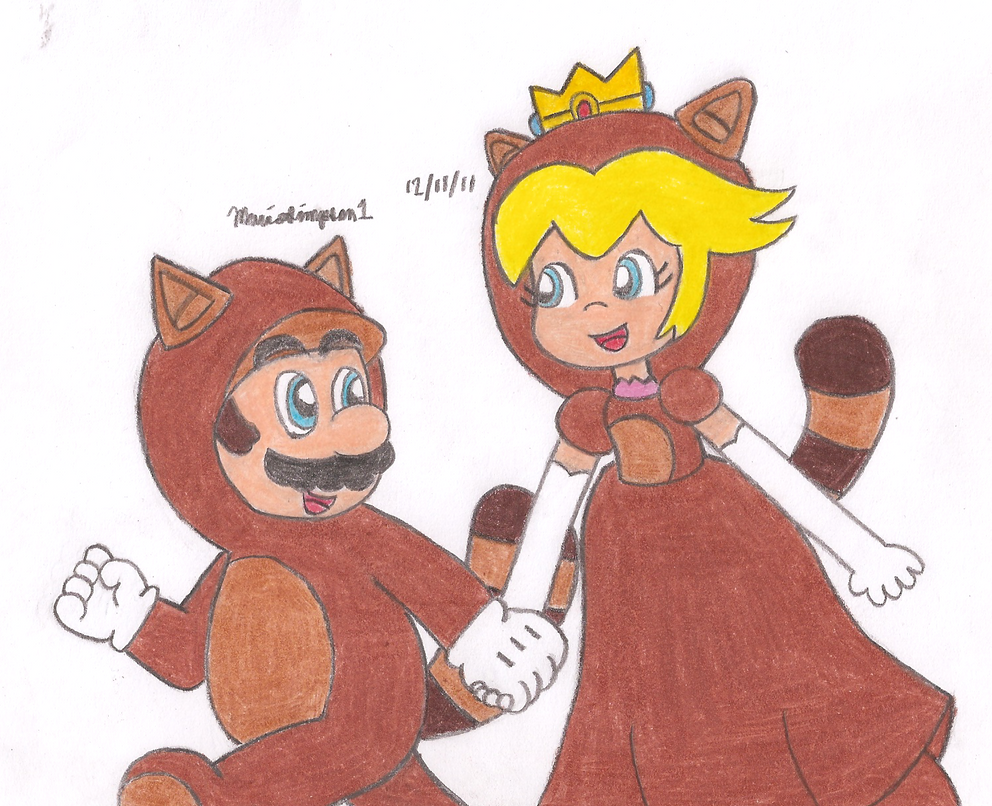 Tanooki Mario and Tanooki Peach by MarioSimpson1