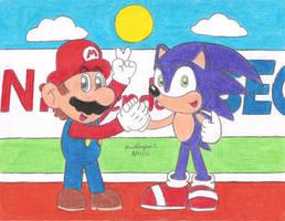 Mario and Sonic by MarioSimpson1