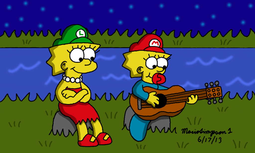 Maggie Playing Lisa's Guitar by MarioSimpson1