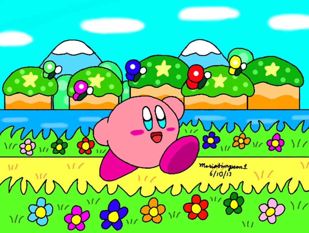 Kirby at Green Greens by MarioSimpson1
