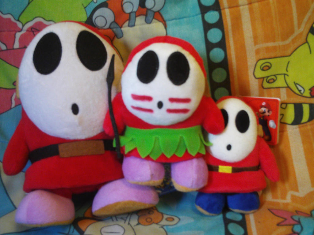 plush guys Shy guys are masked enemies seen in many mario games, beginning with the american version of super mario bros 2, but not reappearing until super mario world 2: yoshi's island.