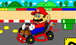 Mario at SNES Mario Circuit 1
