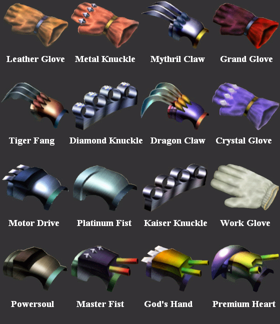 FF7 Tifa's Weapons By SOLDIER-Cloud-Strife On DeviantArt