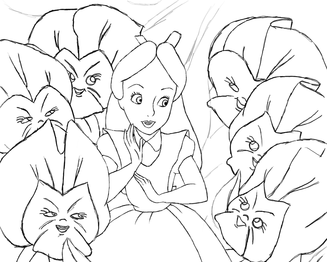 Alice In Wonderland Lineart By Naopanda On Deviantart