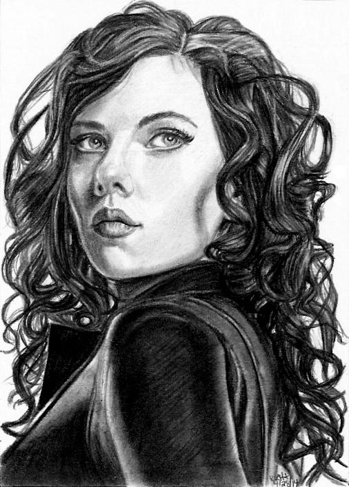 Black Widow Sketch Card 4-28-14 by khinson