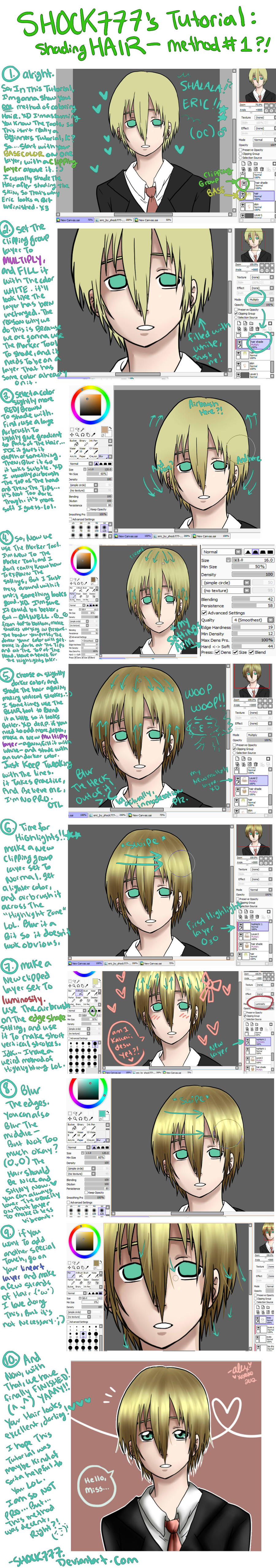 Sai tutorial-Shading Hair method 1 by shock777