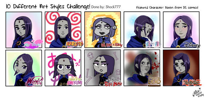 10 art style challenge- Raven by shock777