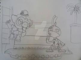 Hero bunny vs villain monkey