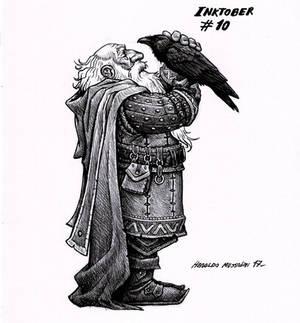 Dwarf and crow - Inktober 10 2017