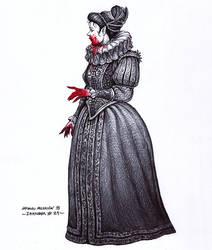 Elizabethan vampire - Inktober 29/2018 by BrokenMachine86