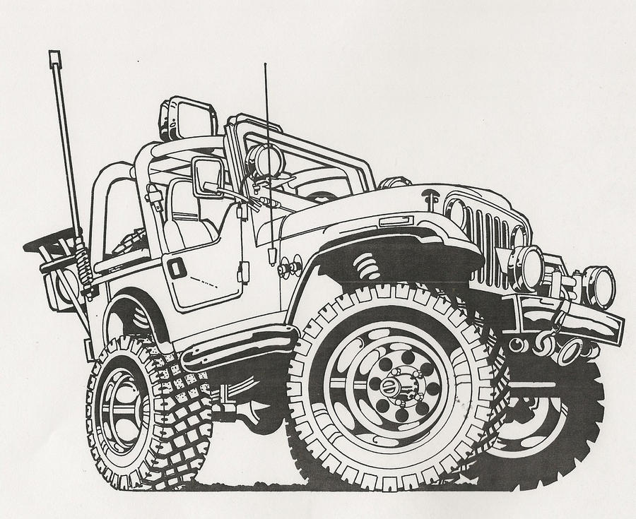 Line Drawing Jeep : Cartoon jeep drawings imgkid the image kid has it