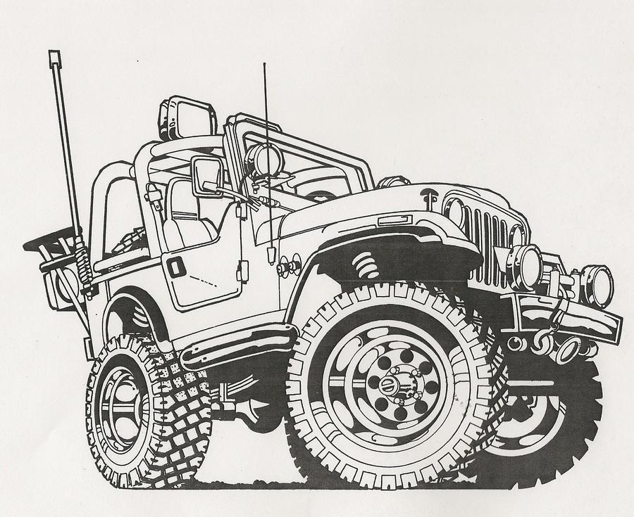 Line Drawing Jeep : Cartoon jeep drawings imgkid the image kid has it