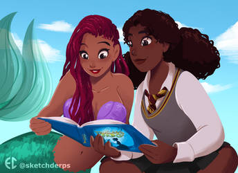 Ariel and Hermione by Sketchderps