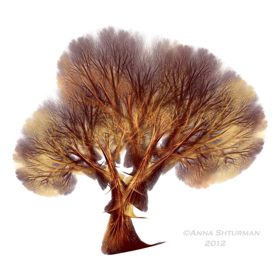 fractal tree 23 - gold by Alvenka