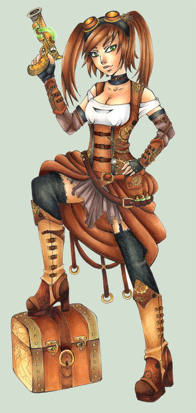 Steampunk Pirate -My treasure- : Colored: by Lexou-chan