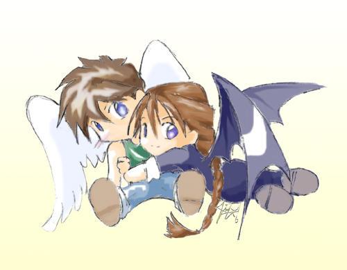 Chibis hugging - photo#19