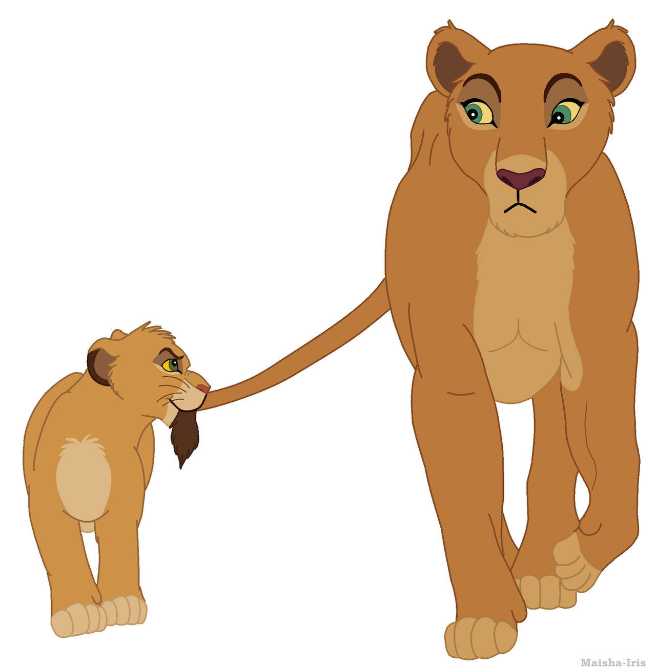 Lioness And Playful Cub By Maisha-Iris On