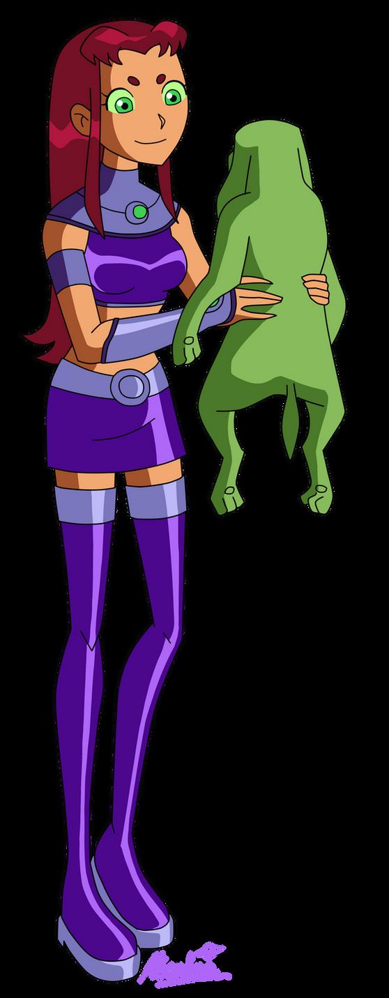 Starfire holds an Alien Dog