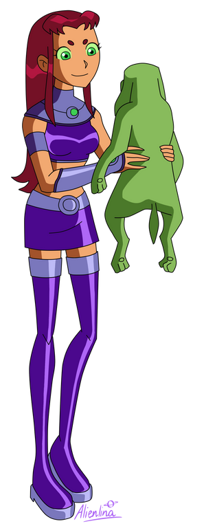 Starfire holds an Alien Dog