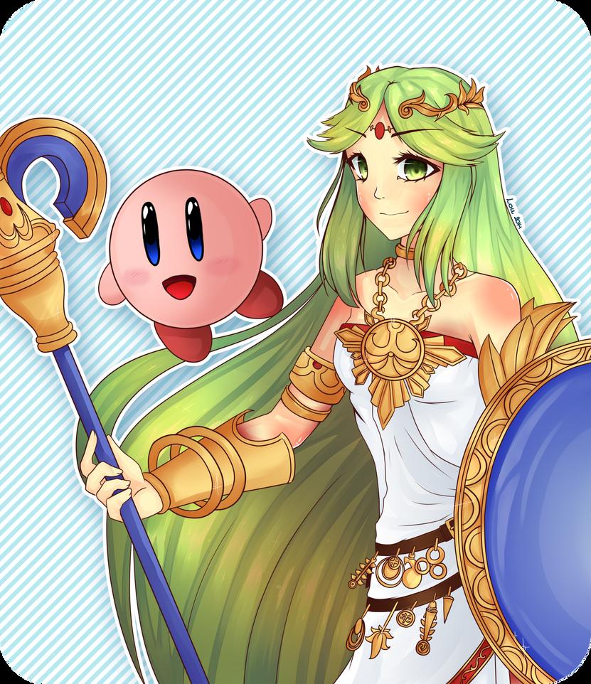 Palutena and Kirby by Kuro-Rey