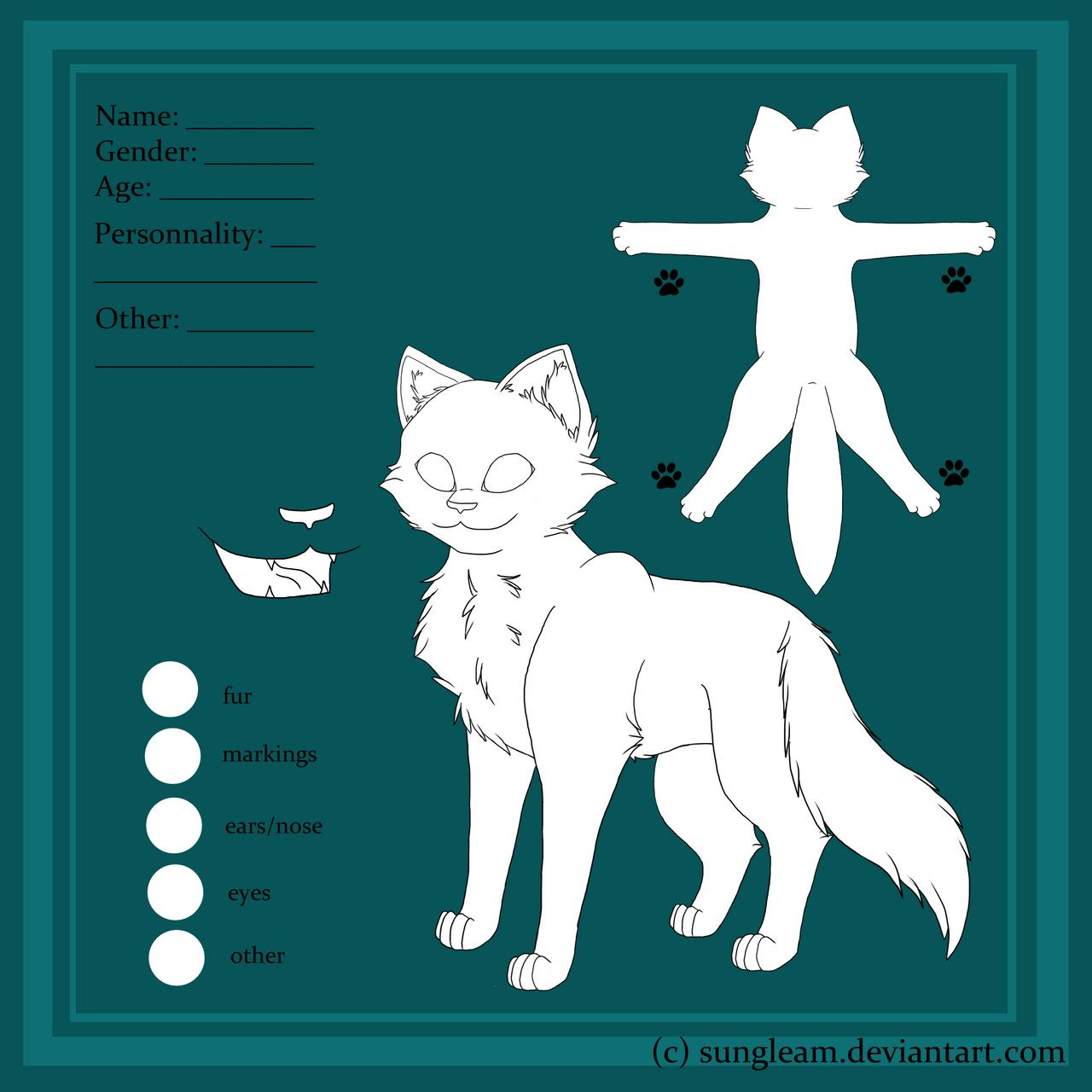 Cat Warrior Cat Reference Sheet Base