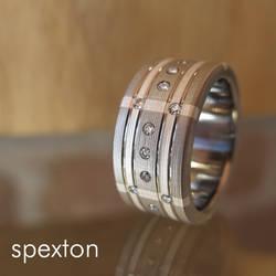 Diamond Plaid Titanium Ring by Spexton