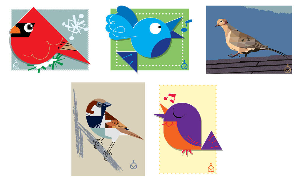 My various bird illustrations so far by ValliantEffort