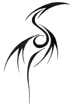 Tribal Dragon Tattoo Glyph