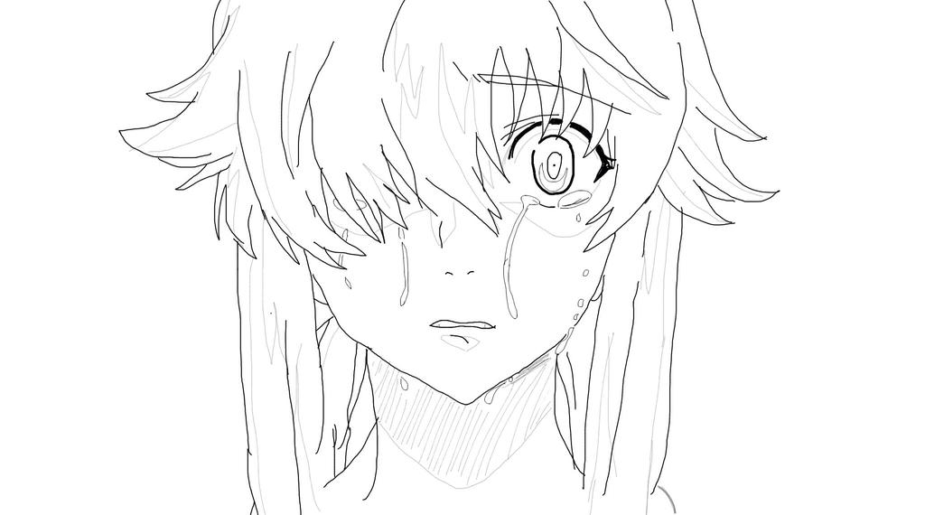Yuno Gasai Crying Lineart By RainbowDashie02 On DeviantArt