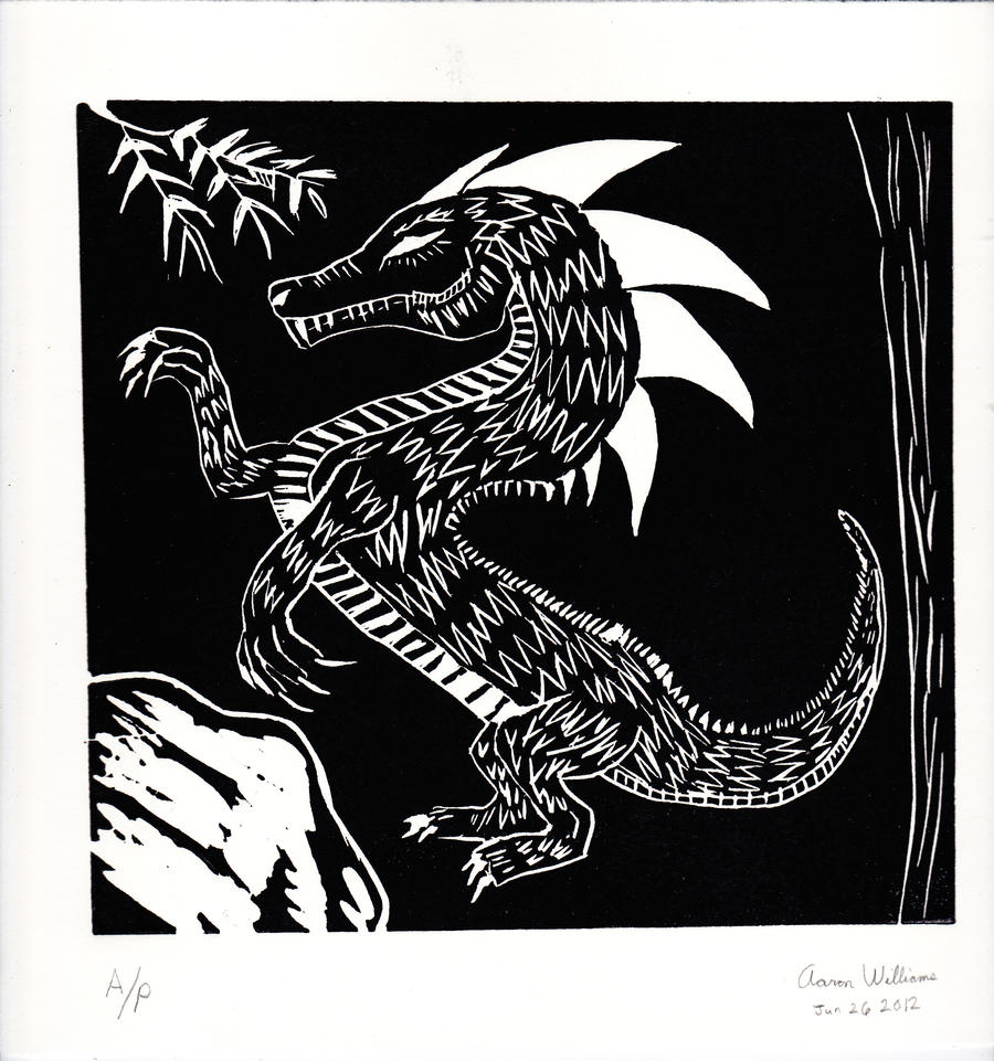 linoleum dragon print by mizter rootbeer