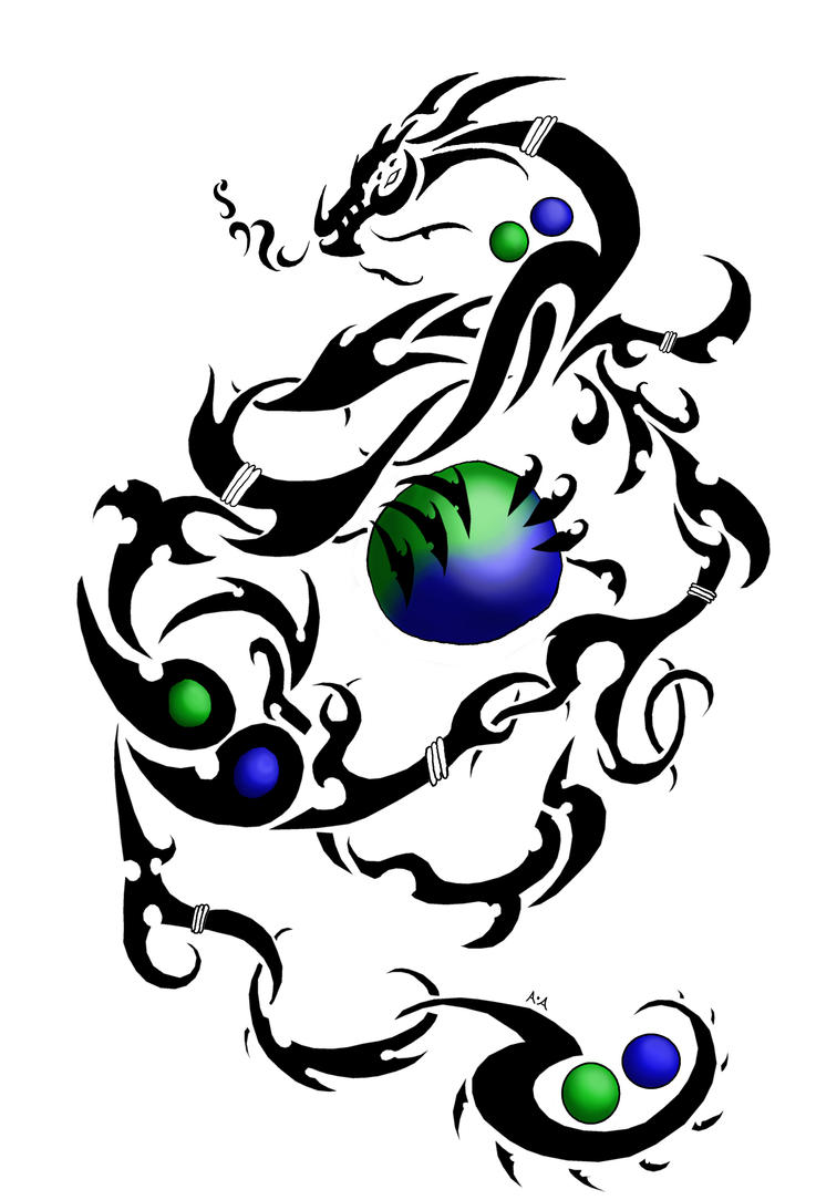 Tribal Dragon - shoulder tattoo
