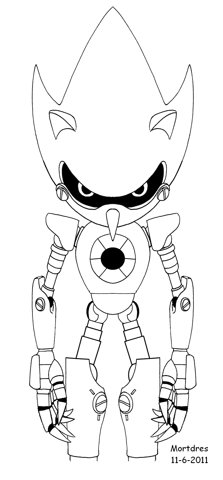 Metal sonic stand by mortdres on deviantart for Metal sonic coloring pages