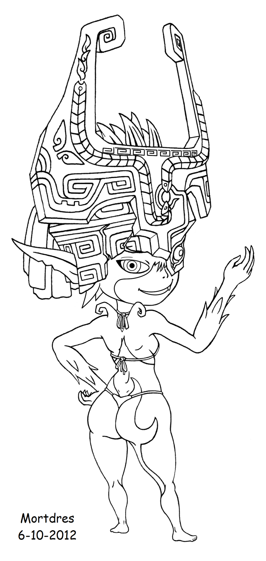 Midna bikini by mortdres on deviantart for Midna coloring pages