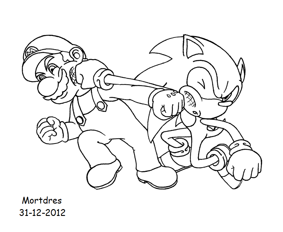 mario and sonic coloring pages mario and sonic crossed punch by mortdres on deviantart