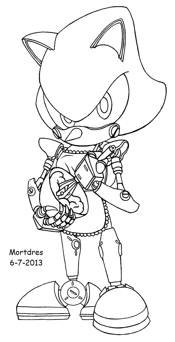 Sonic vs metal sonic pages coloring pages for Metal sonic coloring pages