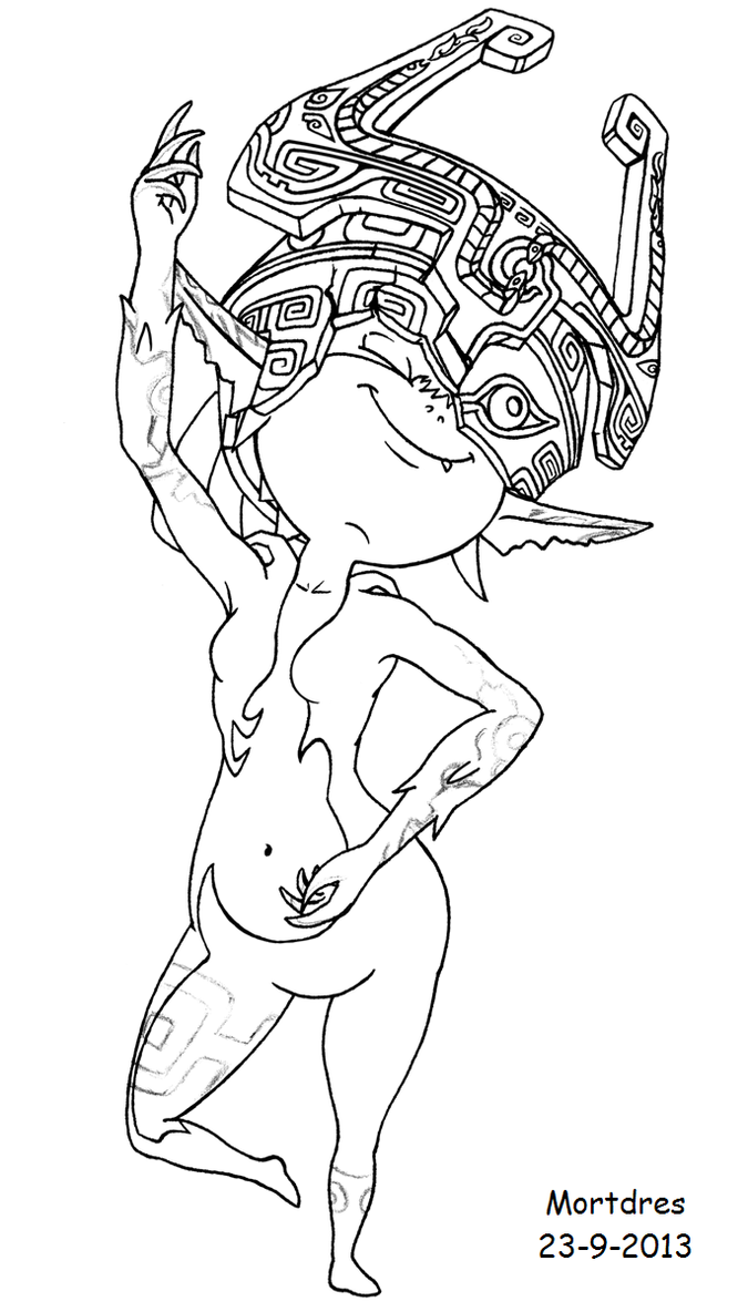 Midna dancing by mortdres on deviantart for Midna coloring pages