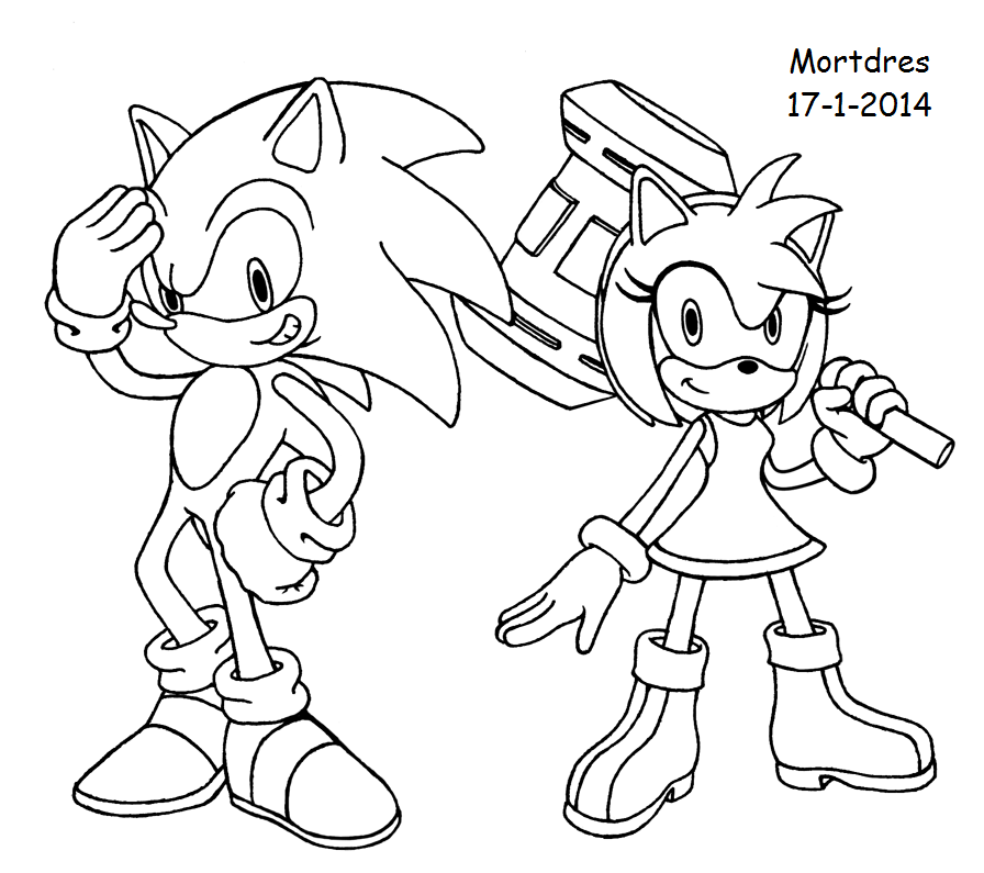 sonic x amy coloring pages - photo#5