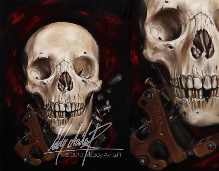 Skull tattoo macine by eddy-avila-r