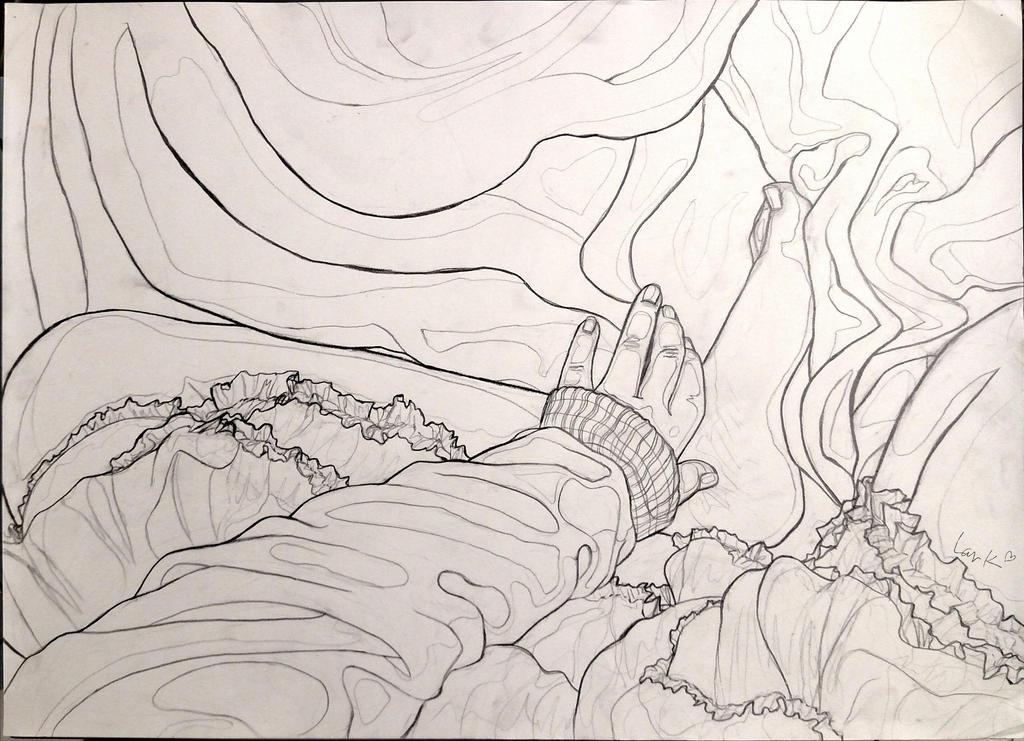 Figure vs. fabric study - Life drawing by 7AirGoddess3