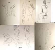 Life drawing gesture sketches, week 3 by 7AirGoddess3