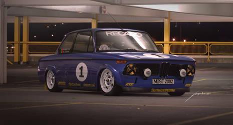 bmw 2002 rally car blue by hugosilva